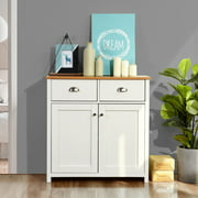 """HouseinBox White Kitchen Pantry Cupboard Cabinet Standing Sideboard Cupboard Table with 4 Drawers 32"""""""