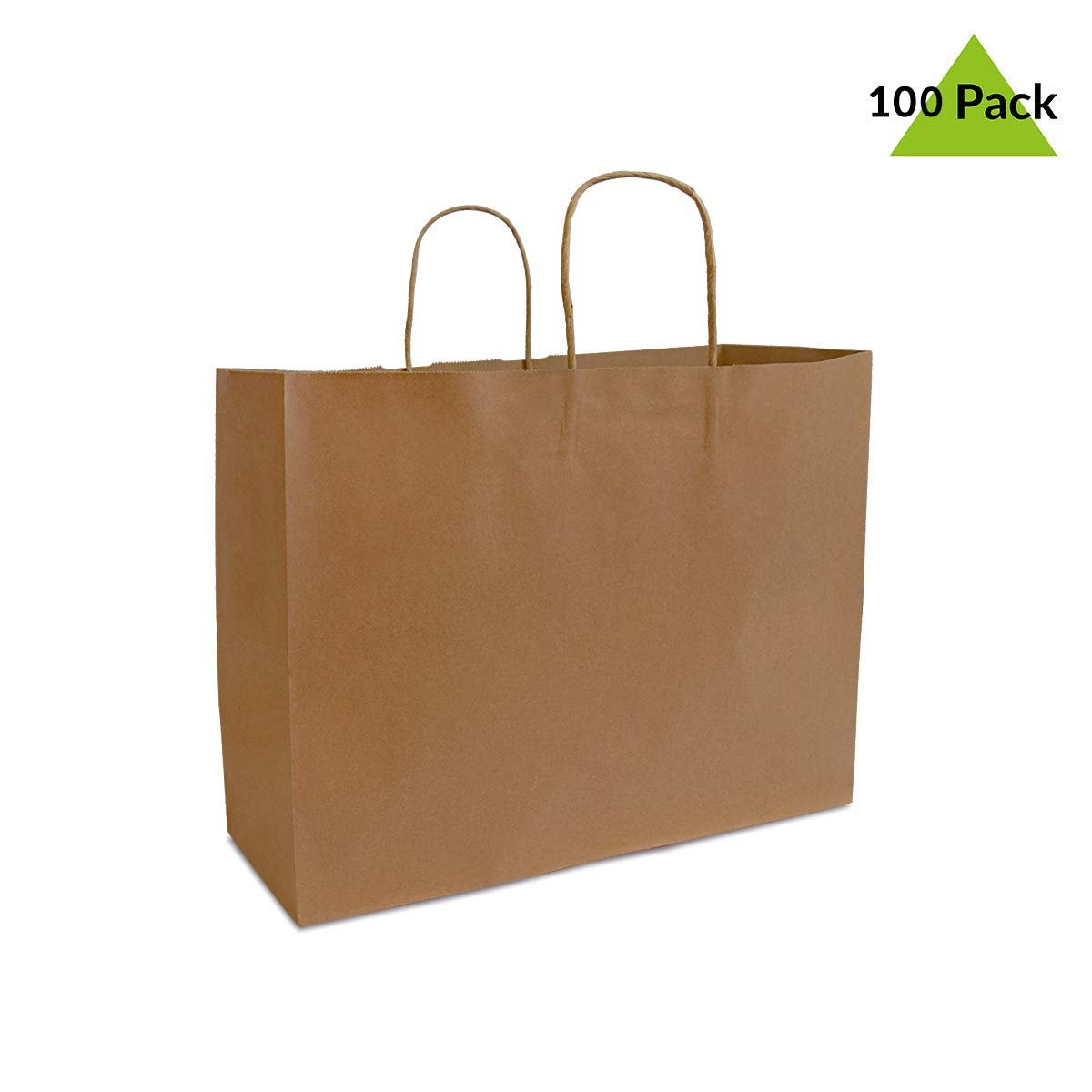100 Pcs Recycled Kraft Paper Shopping Bags Paper Bags