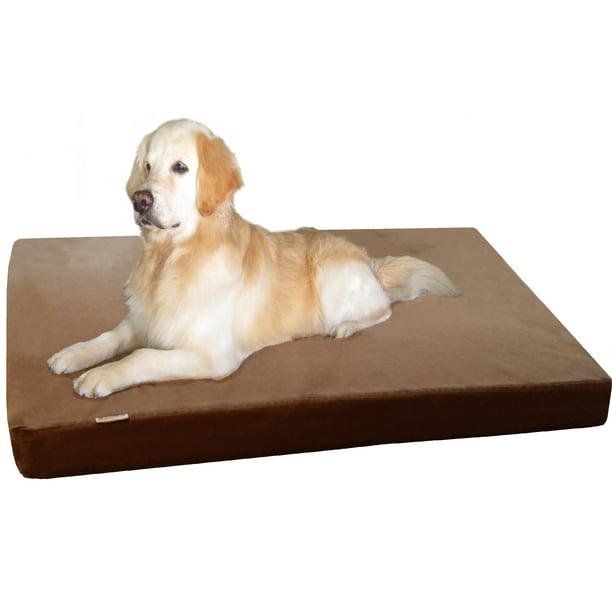 Jumbo Orthopedic Waterproof Memory Foam Dog Bed For Extra Large Pet 55 X47 X4 Denim Brown Washable Cover Walmart Com Walmart Com