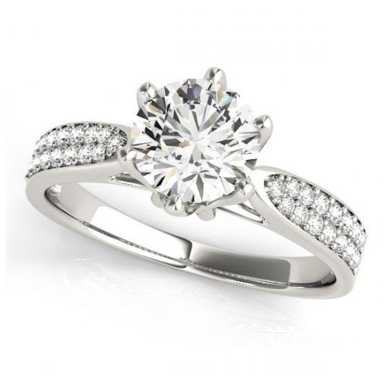 ClassicDiamondHouse  0.87 Carat Round Multirow Pave Diamond Engagement Ring