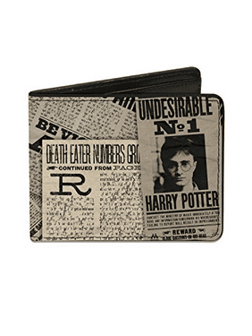 Harry Potter Headlines Undesirable No 1 White Black Bi Fold Wallet One Size