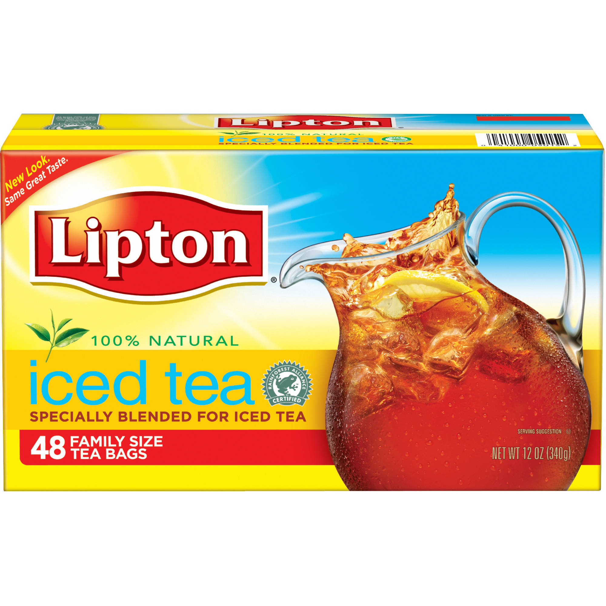 Lipton Unsweetened Family-Sized Black Iced Tea Bags, 48 ct
