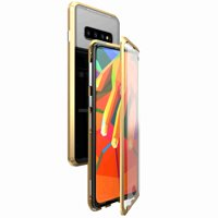 """360° Full Body Case For Samsung S10 Plus 6.4"""", [Front and Back Of Clear Touchable Strong HD Tempered Glass] With Built-in Screen Protector Magnetic Adsorption Metal Protection Cover, Gold"""