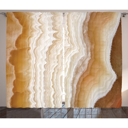 Apartment Decor Curtains 2 Panels Set, Odd Wavy Marble Pattern with New Lines and Shapes Digital Nature Computer Art, Window Drapes for Living Room Bedroom, 108W X 90L Inches, Cream, by Ambesonne