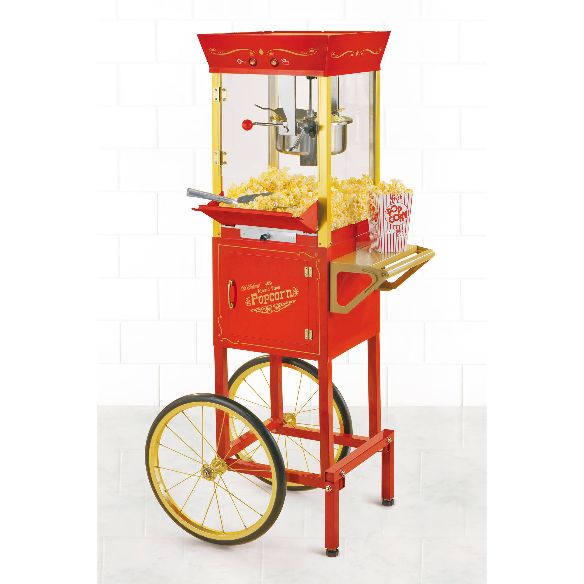 "Nostalgia Electrics 53"" Tall Vintage Collection 6-Ounce Kettle Commercial Popcorn Cart, CCP510"