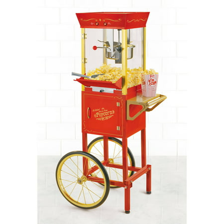 Nostalgia 53-In. Vintage Professional Kettle Popcorn Cart - 8-Ounce Kettle, - Contempo Popcorn Popper Cart
