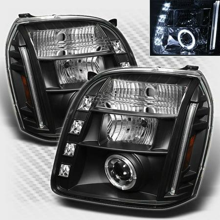2007-2014 GMC Yukon Dual Halo LED Projector Headlights Black Head Lights Lamp Pair L+R 2008 2009 2010 2011 2012 2013