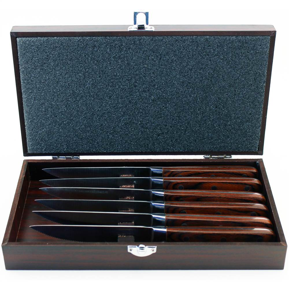 6-Pc Steak Knife Set with Wood Gift Case in Pakkawood Finish