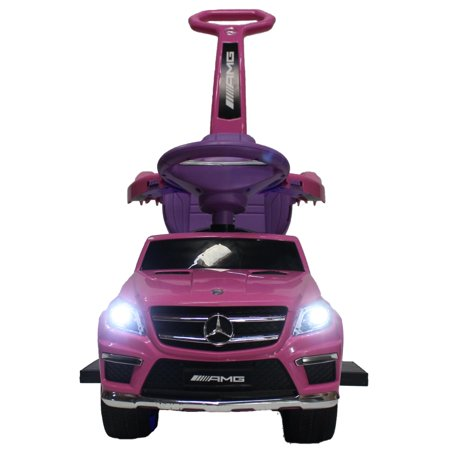 Pink Pouch - Luxury Mercedes GL63 Kids Convertible Ride-On Push-Car and Rocking Chair includes Leather Seat, Aux Plug-in | Pink