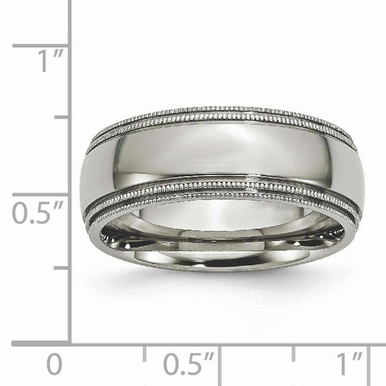 Titanium Grooved Beaded Edge 8mm Wedding Ring Band Size 12.50 Classic Milgrain Fashion Jewelry Gifts For Women For Her - image 2 of 6