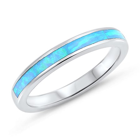 - CHOOSE YOUR COLOR Blue Simulated Opal Wedding Ring New .925 Sterling Silver Thumb Band (Light Blue Simulated Opal/Ring Size 9)