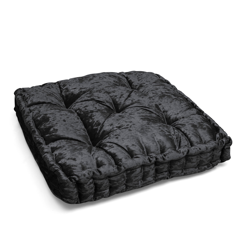 Shop Better Homes & Gardens Crushed Velvet Tufted Square Floor Cushion, Black from Walmart on Openhaus