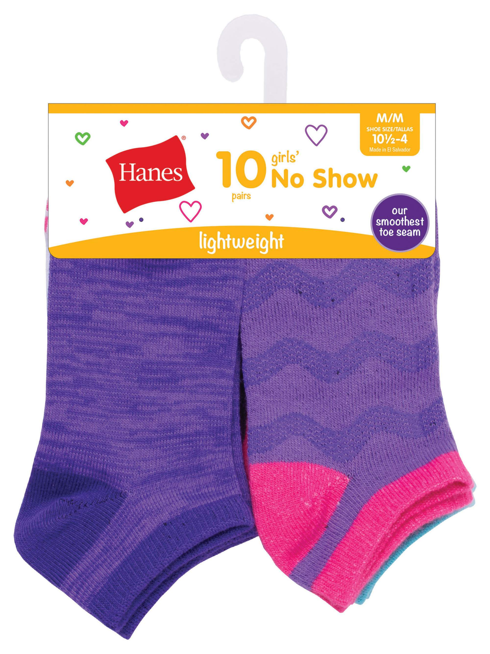 Fashion Colors No Show Socks, 10 Pack (Little Girls & Big Girls)