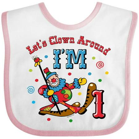Inktastic Clown Around 1St Birthday Baby Bib Circus Cartoon Parade Carnival Gift