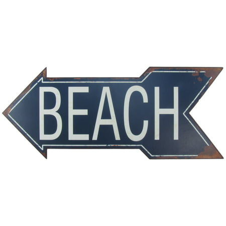 Large Metal To BEACH Arrow Tin Sign Nautical Seaside House FL Coastal Home Decor - Metal Signs Wholesale