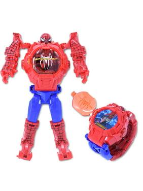 Light up Spider-Man Robot Watch Action Figure Flipped Open WATCH-SM001