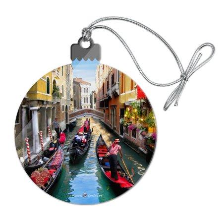 Venice Italy Gondolas Canals Acrylic Christmas Tree Holiday Ornament ()