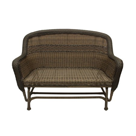 50 Sedona Dark Brown 2 Tone Resin Wicker Outdoor Patio Loveseat Glider