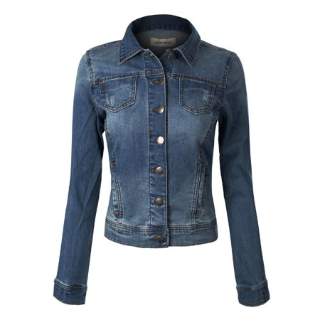 Made by Olivia Women's Classic Denim Jacket Dark Denim S