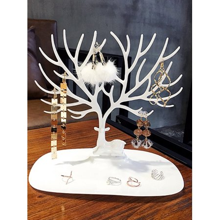 Tree Stand Jewelry Display Necklace Earring Bracelet Holder Necklace Jewelry Organizer Tree Hooks Rack Stand Ring Dish Tray ()