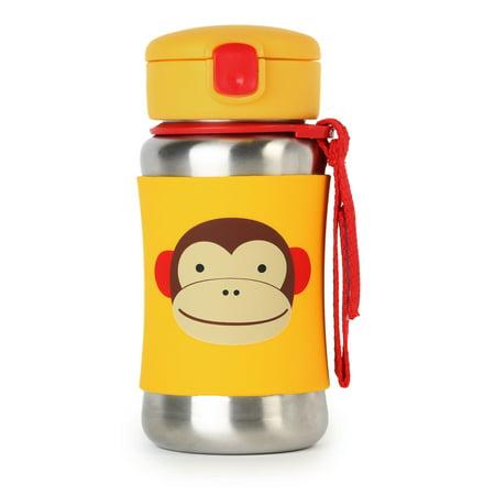 - Skip Hop Zoo Stainless Steel Straw Bottle, Monkey