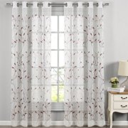 "Wavy Leaves Embroidered Sheer Extra-Wide 54"" x 84"" Grommet Curtain Panel"