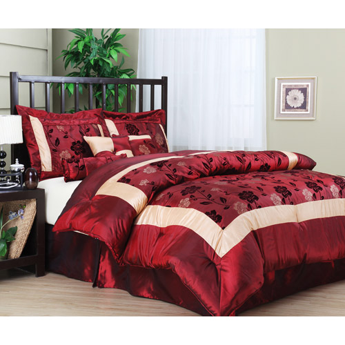 Angela 7-Piece Comforter Set, Burgundy by Overstock