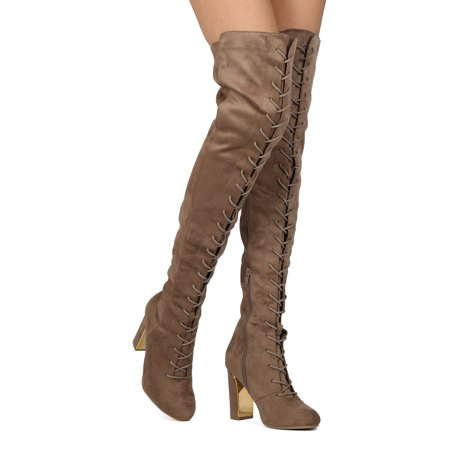 0d20c4c729a Women Faux Suede Over The Knee Lace Up Block Heel Boot HE48