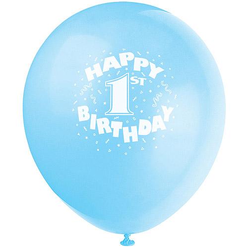 "12"" Blue Happy 1st Birthday Latex Balloons, 6ct"