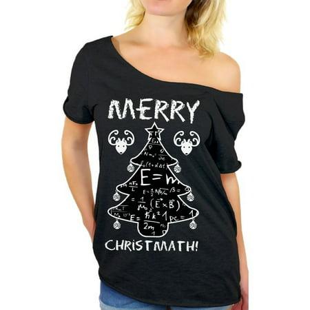 0980b18a Awkward Styles Merry Christmath Off The Shoulder Shirt Funny Christmas  Oversized Shirts for Nerdy Women Christmas Math Formulas Baggy Tshirt Nerdy Math  Ugly ...