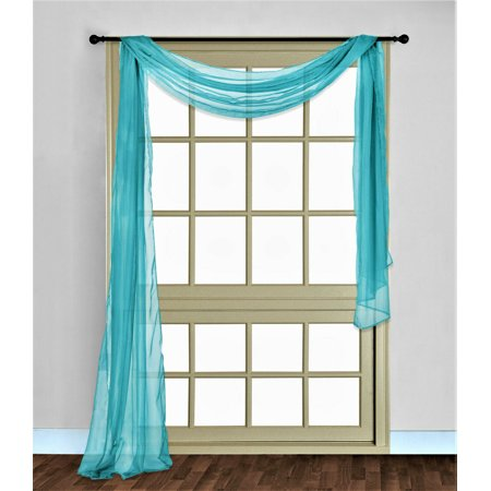 1 PC SOLID TEAL GREEN Hotel High Quality Elegant Window-Sheer Scarf Valance swag topper (37