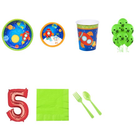 Rocket to Space 5th birthday supplies party pack for 16 - Space Party Supplies