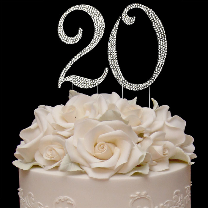Terrific 20Th Birthday Cake Topper With Sparkling Crystals Bling Birthday Funny Birthday Cards Online Inifodamsfinfo
