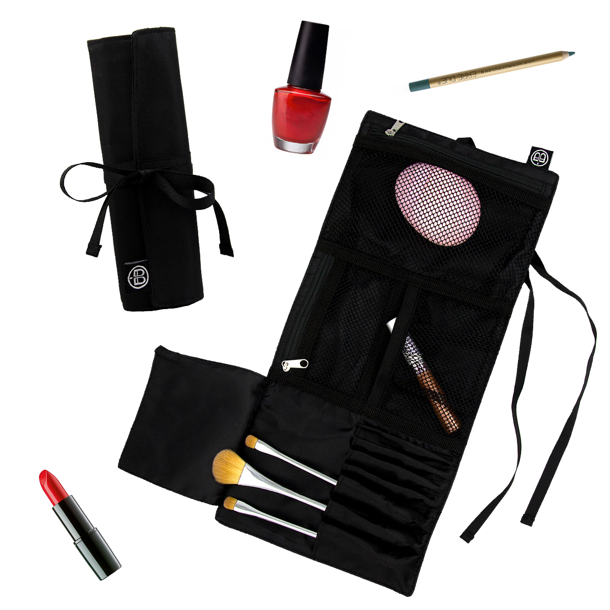 Beyond A Bag Cosmetic TriFold Roll BB291 Black Cosmetic Purse