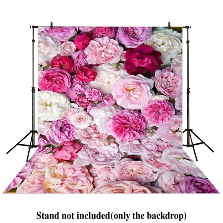 GreenDecor Polyster 5x7ft photography backdrop floral Flower wall pink White Valentine's Day baby shower children background photo studio - Baby Shower Back Drop