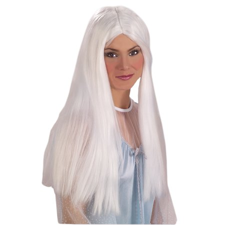 Adult Womens Costume Long White Straight Angel Wig