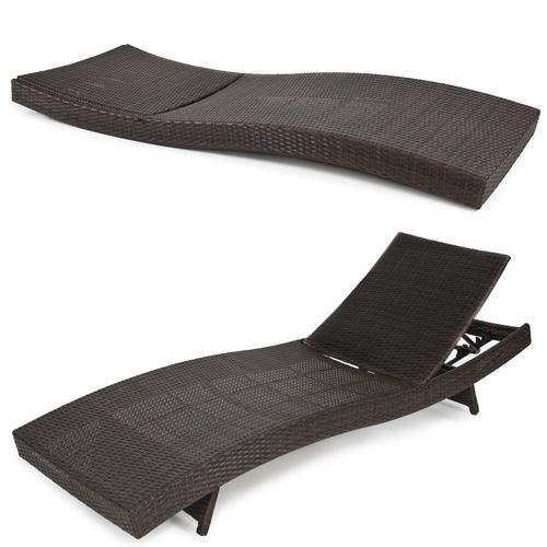 BCP Outdoor Patio Furniture  Wicker Rattan Adjustable Pool Chaise Lounge Chair