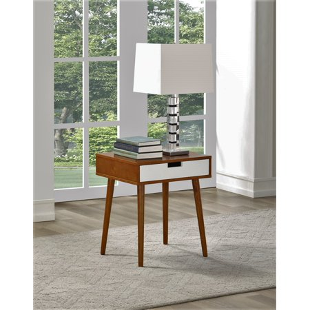 Walnut Color Hardwood End Table, Night Stand with Drawer, By Legacy (Legacy Sand)