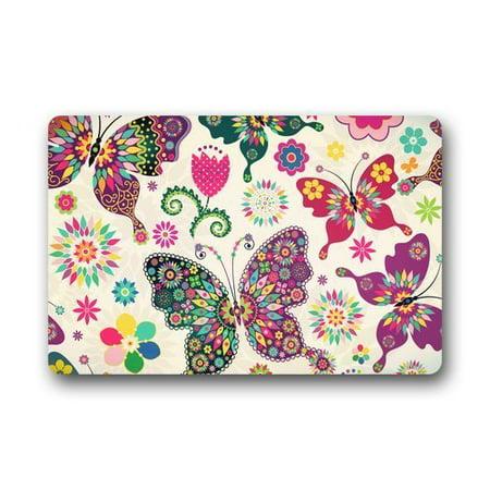 WinHome Butterfly Exotic Flying Butterfly Doormat Floor Mats Rugs Outdoors/Indoor Doormat Size 23.6x15.7 inches](Butterflies Flying)