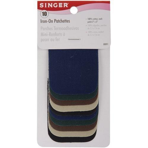 "Singer 2"" x 3"" Iron-On Patches, 10pk, Dark Assortment"