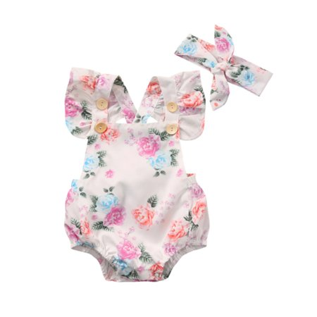 StylesILove Infant Baby Girl Cute Floral Print Blackless Sunsuit with Headband 2 pcs Set (90/6-9 Months)