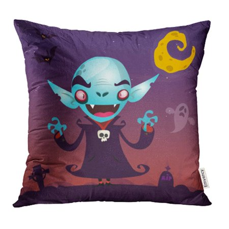 CMFUN Cute Cartoon Vampire Halloween Character Dark with Cemetery Ghost and Moon Pillow Case Pillow Cover 16x16 inch Throw Pillow Covers