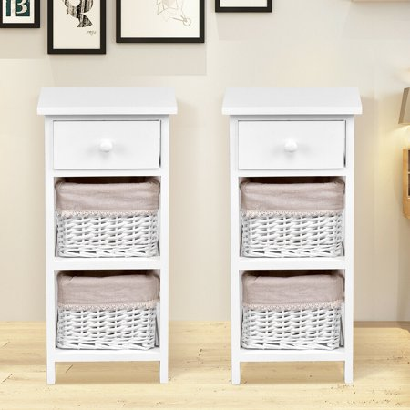 Gymax 2 PC End Bedside Table Nightstand Chest Cabinet ()