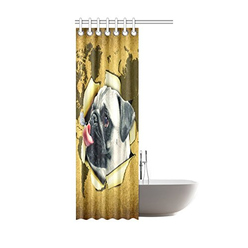 GCKG World Map Funny Dog Butterfly Shower Curtain Hooks 36x72 inches Yellow Brown Fabric Cracked Wall Vintage World Map Pug Dog Puppy - image 1 de 3
