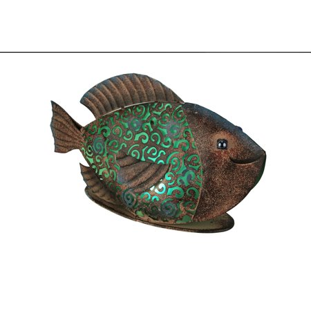 Rustic Copper Metal Filigree Fish LED Lighted Solar -