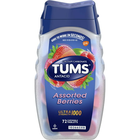 (2 Pack) Tums antacid chewable tablets for heartburn relief, ultra strength, assorted berries, 72 (Antacid Tablets Tropical Punch)