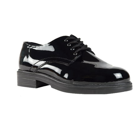 High Gloss Dress Oxford - Sixka Men's Oxford Military Leather Black High Gloss Shoes