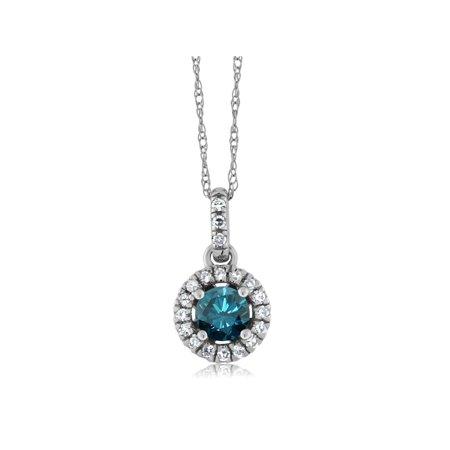 18K White Gold Diamond Halo Solitaire Pendant set with 0.37Ct Round Blue Diamond - image 2 de 2