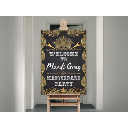 Gold Mardi Gras Party Sign, Black and Gold Backdrop, Masquerade Party Banner, Mardi Gras Party Decorations, Welcome Signs, Masquerade Party Supplies, Carnival Party Sign,  Size- 36x24 - Masquerade Party City