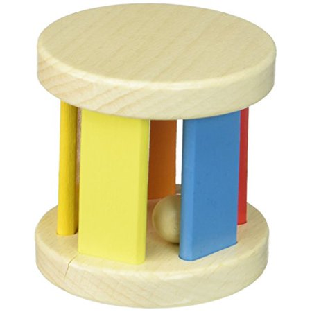 Non Toxic Rattle Tooky Bright Wooden Roller Baby Toy With Ball Inside